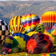 Stock Photo: Colorful Hot Air Balloons Inflating