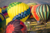 Colorful Hot Air Balloons Inflating — Stock Photo