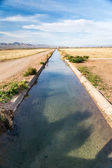 Irrigation Ditch with Flowing Water — Stock Photo