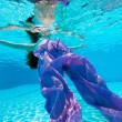 Underwater view of a woman swimming in the swimming pool — Stock Photo #14459711