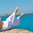 Pretty woman doing relaxation exercices — Stock Photo