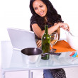 Stock Photo: Beautiful Girl Cooking in the Kitchen