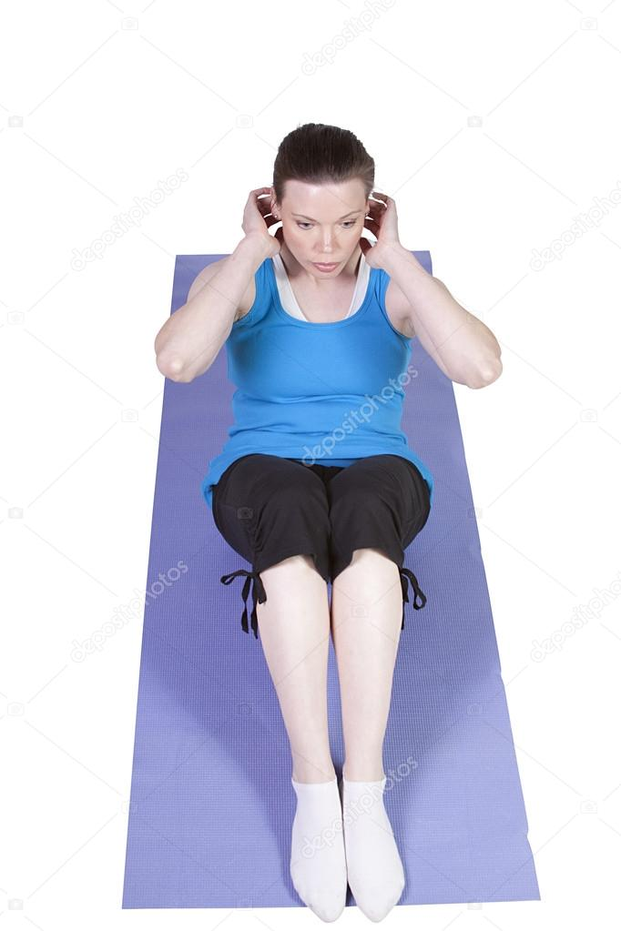 Very Attractive Woman Exercising - Isolated White Background — Stock Photo #13641428