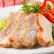 Chicken breast with green salad - Stock Photo