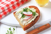 Crispy bread with cheese spread and cress — Stock Photo