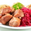 Royalty-Free Stock Photo: Roast pork with Tyrolean dumplings and red kraut