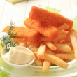 Fried fish fingers and French fries — Stock Photo #13403613