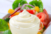 Vegetable salad with salad dressing — Stock Photo