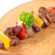 Royalty-Free Stock Photo: Chicken liver and vegetable skewer