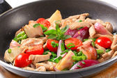 Chicken vegetable stir fry — Stock Photo