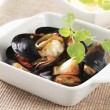 Steamed mussels - Stock Photo