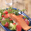 Seared salmon with salad greens and red orange — Stock Photo #16242093