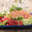 Salmon fillet and fresh salad — Stock Photo #16242097