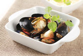 Steamed mussels — Stock fotografie