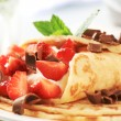 Crepes with sweet cheese and strawberries — Stock Photo #17843465