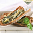 Royalty-Free Stock Photo: Toasted pesto bread with cheese
