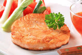 Pan fried salmon patty — Stock Photo