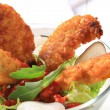 Crispy chicken tenders with salad — Stock Photo #19778669