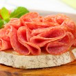 Bread with dry salami - Foto Stock