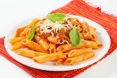 Penne with meat tomato sauce — Stock Photo
