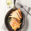 Scrambled eggs and toast — Stock Photo