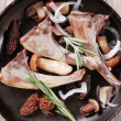 Stock Photo: Lamb chops and mushroom