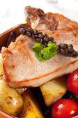 Pork chop and potatoes — Stock Photo