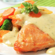 Chicken breast fillet with mixed vegetables and herb sauce — Stock Photo