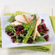 Chicken breast with red beans and arugula — Stock Photo