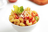Macaroni with,tomato sauce and cheese — Stock Photo