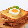 Toast and boiled egg - Stock Photo