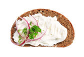 Brown bread with cream cheese — Stock Photo