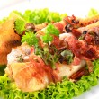Stock Photo: Pfried fish fillets with bacon bits