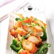 Постер, плакат: Breaded chicken breast with salad greens