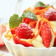 Creamy pudding with fresh fruit — Stock Photo #26528337