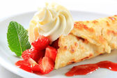 Strawberry crepe — Stock Photo