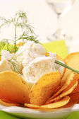 Corn chips with fresh cheese — Stock Photo
