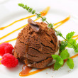 Chocolate ice cream with caramel — Photo