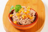 Meat spread with orange succade — Stock Photo