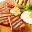 Stock Photo: Grilled Leberkase with fried egg and mustard