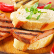 Grilled Leberkase sandwich — Stock Photo