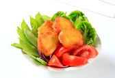 Crispy fritters with vegetables — Stock Photo