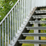 Exterior metal stairs — Stock Photo