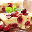 Cherry sponge cake — Stock Photo