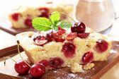 Cherry sponge cake — Stock Photo