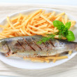Stock Photo: Grilled trout with French fries
