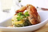 Roast chicken and potatoes — Stock Photo