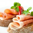 Stock Photo: Prosciutto open faced sandwiches