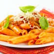 Stock Photo: Penne with meat tomato sauce
