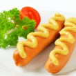Stock Photo: Frankfurters with mustard